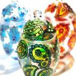 Hand Painted Glass Jar with..