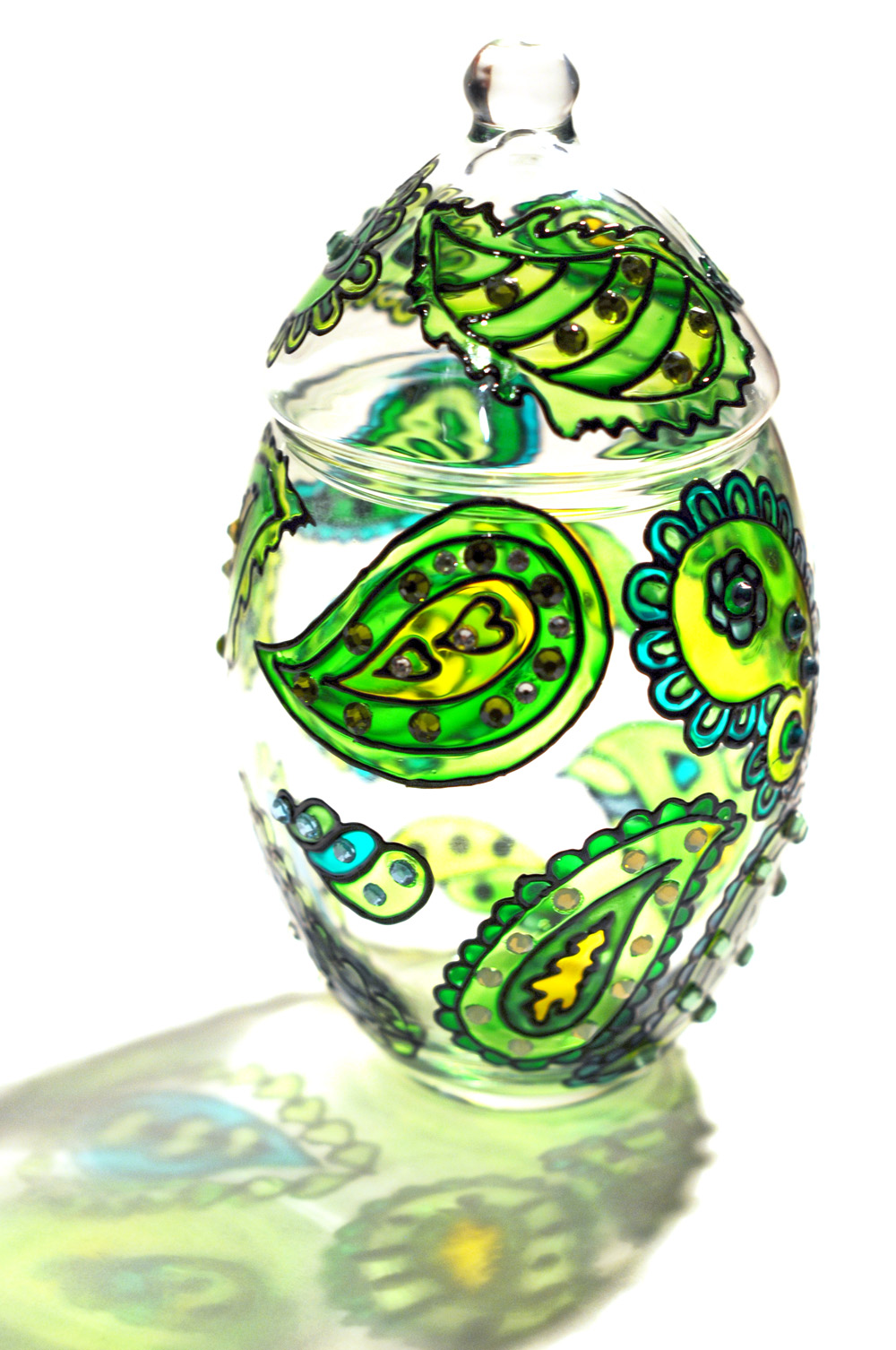 hand painted glass jar with lid chrysolite paisley on luulla
