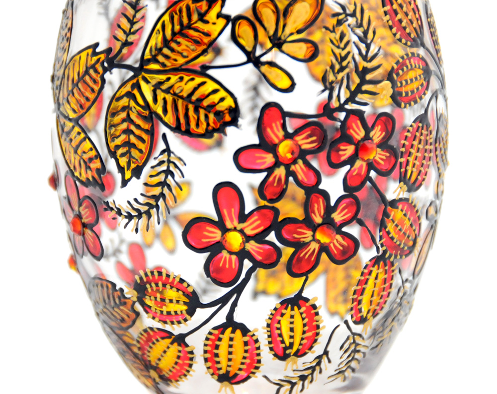 Hand Painted Glass Jar with Lid, Gooseberries, Khokhloma-inspired