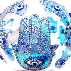Hand Painted Glass Bowl, Khamsa