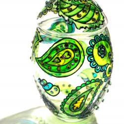 Hand Painted Glass Jar with Lid, Chrysolite, Paisley